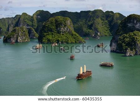 Tourist Junks in Halong Bay, Vietnam.