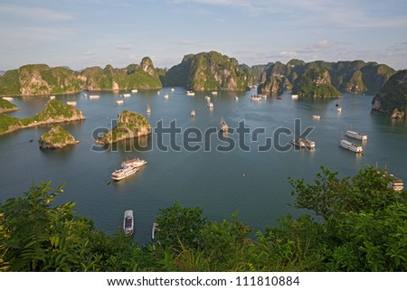 Tourist Junks in Halong Bay, view from titop island, Vietnam