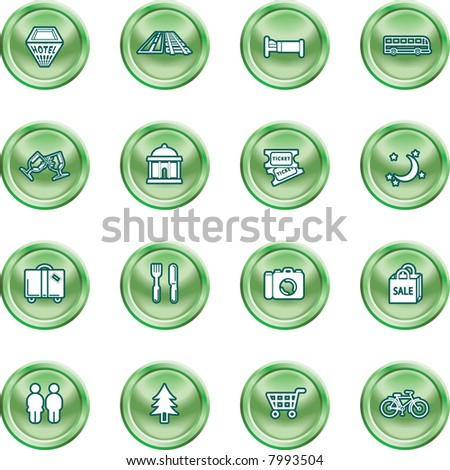 Tourist locations icon set Icon set relating to city or location information for tourist web sites or maps etc. Raster version