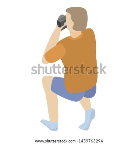 Tourist man take a photo icon. Isometric of tourist man take a photo icon for web design isolated on white background