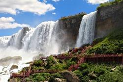 Tourist observing Niagara Falls