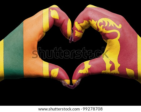 Tourist peru made by sri lanka flag colored hands showing symbol of heart and love
