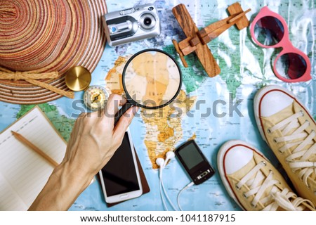 Tourist planing - travel plan, trip vacation, tourism mockup, outfit of traveler - Shutterstock ID 1041187915