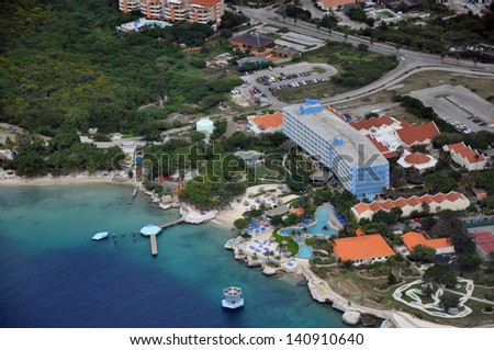 Tourist resorts on the island of Curacao in the Caribbean