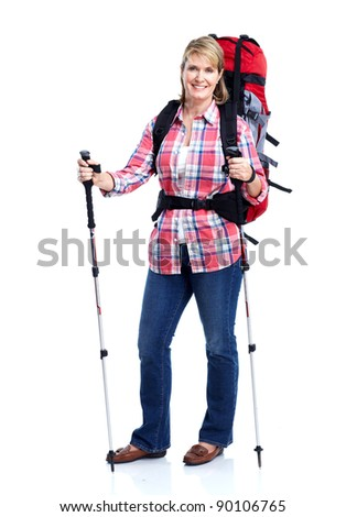 Tourist. Senior woman hiking. Isolated on white background.