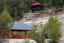 Tourist shelter and observation tower in old limestone quarry area. View point placed in out of use mine. Nowiny, Poland, Europe.