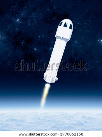 Tourist space travel, rocket and capsule, once the Kàrmàn line is reached, the capsule will detach from the rocket. First tourist flight. Earth's atmosphere. New shepard. 3d render