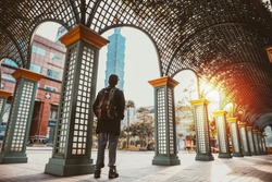 Tourist standing in Taipei city scene during sunset in Taiwan (Republic of China) - Taiwan Tourism