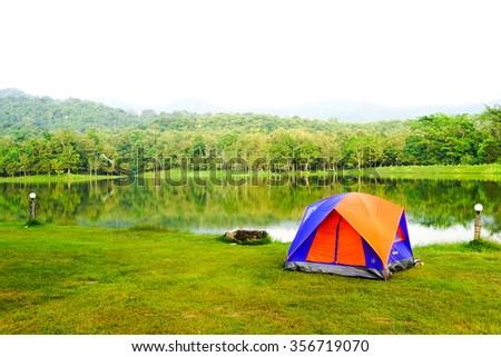 tourist tent lake side, thailand  #356719070