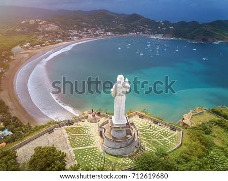 Photo of  Tourist tour for jesus christ statue  in Nicaragua. Above view on San juan del sur