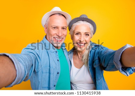 Tourist tourism travel healthy dental video-call lifestyle concept. Close up photo portrait of cheerful joyful beautiful careless excited old guy and grandma making selfie isolated bright background