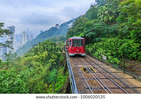 Tourist tram at the peak, Victoria peak tram and Hong Kong city skyline, Hong Kong, China.