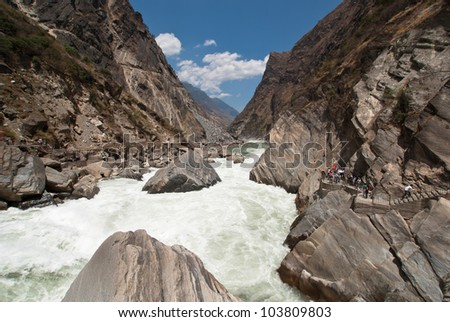 Tourist visit Tiger Leaping Gorge in Lijiang, Yunnan Province, China.