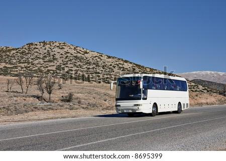 Tourist white Bus on Road, Turkey, Middle East