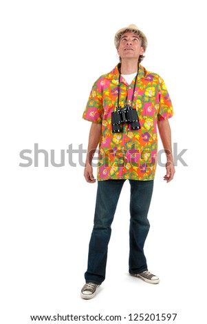 tourist with colorful shirt and binocular