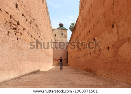 Tourist woman from behind walking in historic narrow alley of walls with scenic view of white stork nest in arabic El Badi Palace in beautiful moroccan Medina of oriental Marrakech, Morocco, Africa. Zdjęcia stock ©