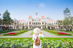 Tourist woman is sightseeing at famous landmark of Hochiminh City
