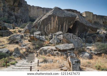 Touristic Qobustan with petroglyphs area listed in Unesco, World Heritage in Azerbaijan