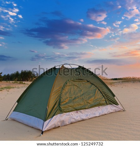 touristic tent on a sand
