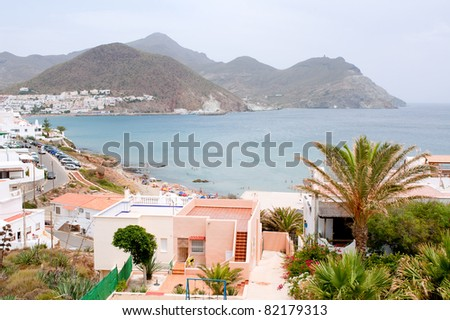Touristic village of San Jose and its beach in Almeria, Andalusia, Spain.