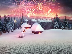 Tourists and New Year on a trip to the mountains. Spending the night in the houses of the shelters of hunters and foresters, they celebrate with a salute fireworks