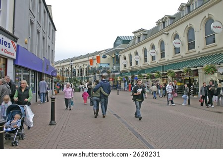 Tourists and Shoppers in Torquay, Devon, England, UK