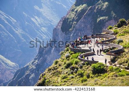 Tourists at the Cruz Del Condor viewpoint, Colca canyon, Peru