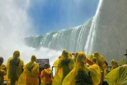 Tourists at the Horseshoe Fall, Niagara Falls, Ontario, Canada