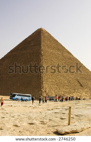 tourists by the pyramid