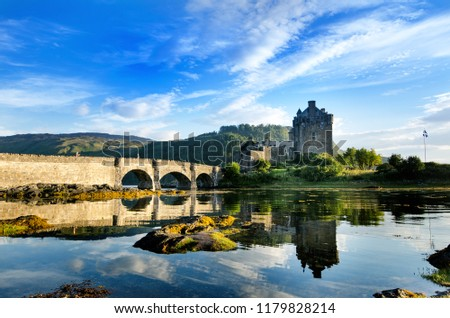 Tourists favourite place in Scotland - Isle of Skye. Very famous castle in Scotland called Eilean Donan castle. Scotland green nature. Top of the mountains. Beautiful nature. Scottish Highlands. Castl