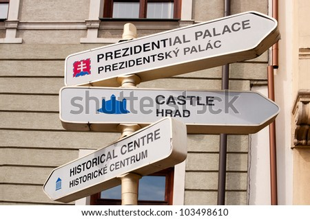 Tourists guideposts in Bratislava - stock photo