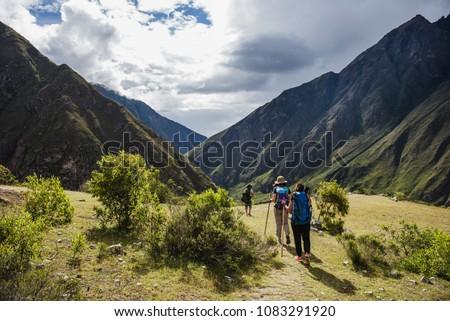 Tourists hiking the Inca Classic Trail in Peru. Сток-фото ©