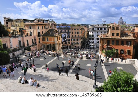 tourists in Spain square, Rome, Italy