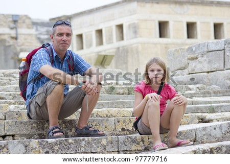 Tourists in the ruins of the Palace of Knossos, Crete, Greece