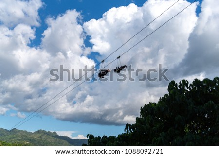 Tourists on the Zip Line at Bohol Island, Philippines