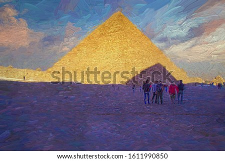 Tourists stand avoid the sunlight in front of the Great Pyramids of Giza in the afternoon time. This area has 3 main pyramids which are Khufu Khafre Menkaure, Egypt. Abstract oil painting.