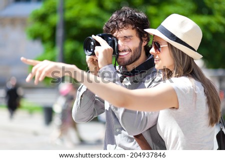 Tourists taking a picture