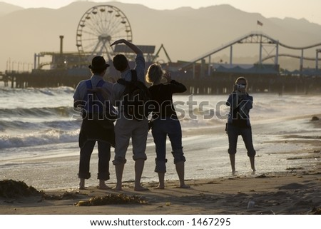 Tourists taking pictures at the Santa Monica Pier
