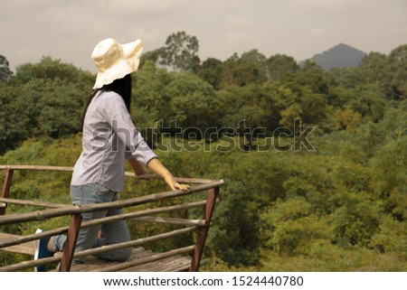 Tourists, traveler Woman watching Forest view, scenic area #1524440780