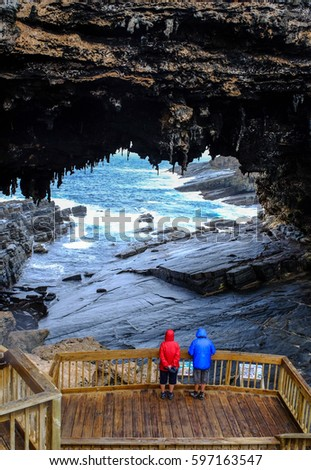 Tourists visit the cave of Admirals Arch on Kangaroo Island, South Australia. The island lies in the state of South Australia 112 km (70 mi) southwest of Adelaide.