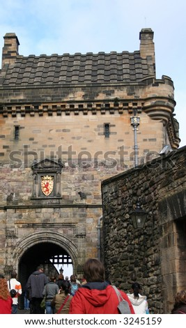 tourists visiting Edinburgh castle Scotland