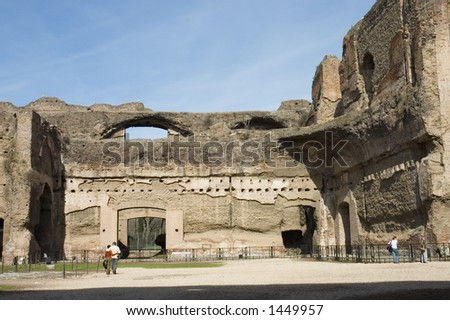 Tourists visiting the  Caracalla's Baths or Thermae , ancient roman public baths and leisure center,  Rome, Italy