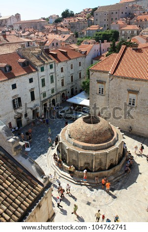 Tourists visiting the water reservoir in Dubrovnik, Croatia.