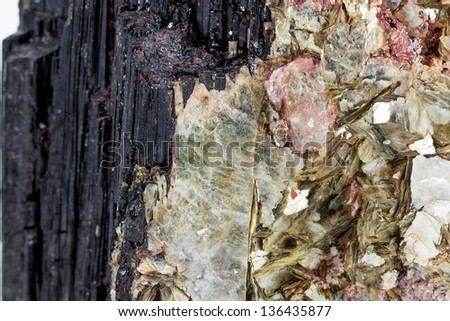 Tourmaline and muscovite mineral - stock photo