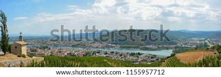 Tournon sur Rhone and Tain l'Hermitage, two  river towns and Vineyards on the Hills of the Cote du Rhone Area in France