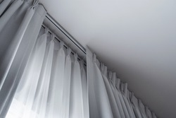 Tow layers curtain with rails, installed on ceiling, translucent and blocking lights curtains