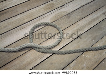 tow on a wooden jetty