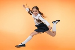 Toward knowledge. Girl make supernatural efforts on way to knowledge. Thirst of knowledge. Back to school. Kid cheerful schoolgirl full of energy jump in mid air. Pupil want study. Lets begin study