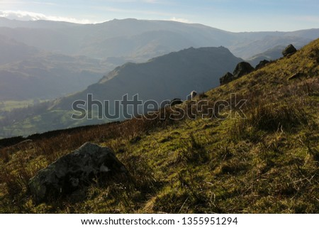 Towards Helm Crag and  Grasmere, descending Stone Arthur, Lake District, Cumbria