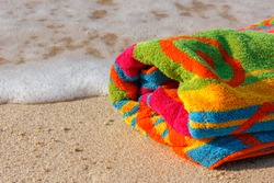 towel beach on the sandy beach with space for text